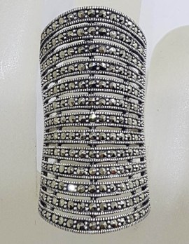 Sterling Silver Exquisite Marcasite Very Long and Wide Finger Length Ring - Large