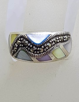 Sterling Silver Vintage Marcasite and Multi-Colour Mother of Pearl Wide Ring