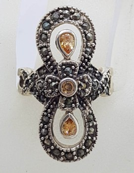 Sterling Silver Vintage Marcasite and Yellow Cubic Zirconia Long Loops Ring