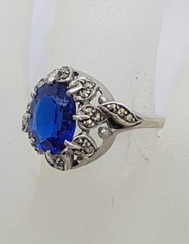 Sterling Silver Vintage Marcasite and Oval Blue Cluster Ring