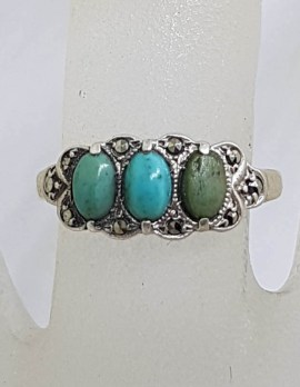 Sterling Silver Vintage Marcasite and Turquoise Ring