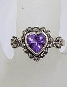 Sterling Silver Vintage Marcasite & Amethyst Heart Ring