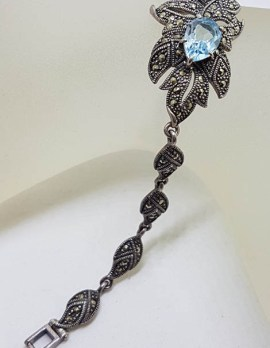 Sterling Silver Marcasite, Topaz, Amethyst and Citrine Ornate Leaf Bracelet