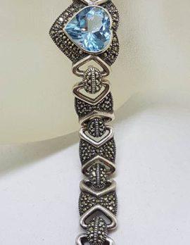 Sterling Silver Heavy Marcasite & Topaz Heart Bracelet