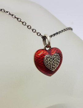Sterling Silver Marcasite Red Enamel Heart Pendant on Sterling Silver Chain