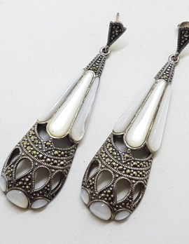 Stunning Sterling Silver Marcasite & Mother of Pearl Very Long Teardrop / Pear Shape Art Deco Style Earrings