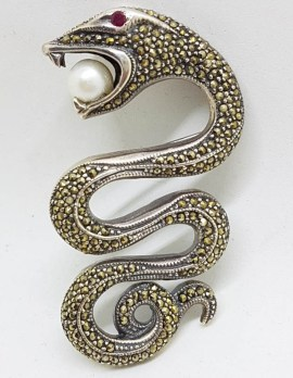 Sterling Silver Very Large Marcasite Snake / Asp with Ruby and Pearl Brooch