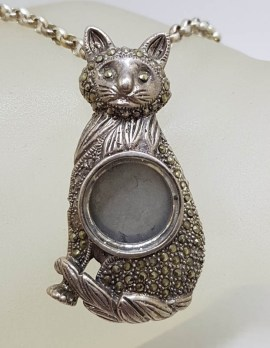 Sterling Silver Marcasite Cat Converted Locket Pendant on Silver Chain - Vintage