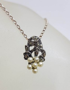 Sterling Silver Vintage Marcasite & Pearl Cluster Pendant on Silver Chain