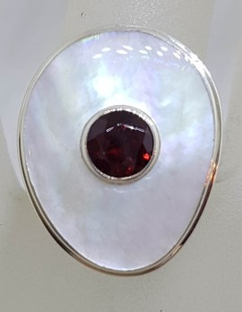 Sterling Silver Large Garnet and Mother of Pearl Ring