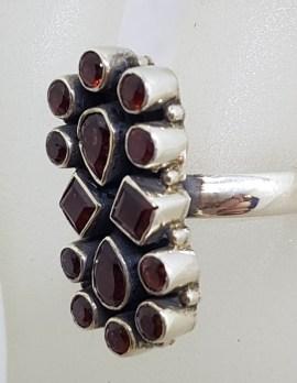 Sterling Silver Garnet Long Oval Cluster Ring