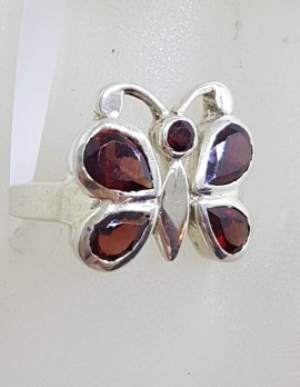 Sterling Silver Garnet Butterfly Ring