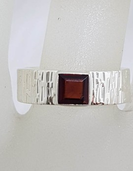 Sterling Silver Square Garnet in Wide Patterned Band Ring