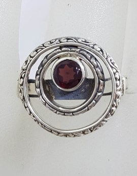 Sterling Silver Round Garnet in Circles Ring