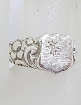 Sterling Silver Cubic Zirconia Ornate Vintage Signet Ring - Gents Ring / Ladies Ring