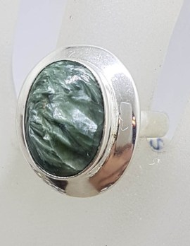 Sterling Silver Oval Seraphinite Ring with Border around Stone