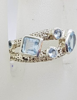 Sterling Silver Unusual Cluster Topaz Ring with Square, Round and Oval Cut Stones
