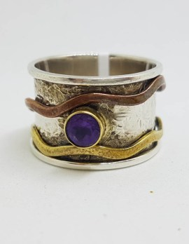 Sterling Silver Amethyst with Brass and Copper Wave Wide Spinner / Fidget Ring