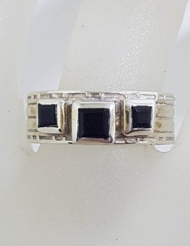 Sterling Silver Three Square Onyx on Line Patterned Band Ring
