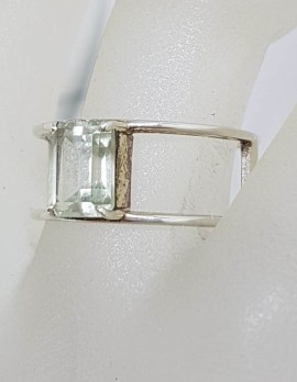 Sterling Silver Wide Rectangular Green Amethyst / Prasiolite Open Band Ring
