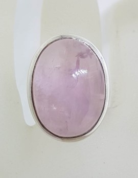Sterling Silver Large Oval Cabochon Cut Rose Quartz Ring