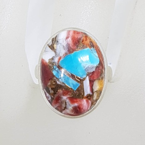 Sterling Silver Bezel Set Large Oval Spiny Oyster Turquoise Ring