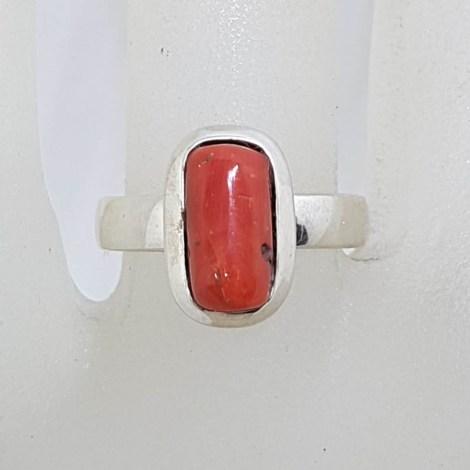 Sterling Silver Bezel Set Rectangular Coral Ring