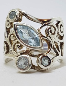 Sterling Silver Very Wide and Ornate Filigree Topaz Wave Shape Ring - Stunning
