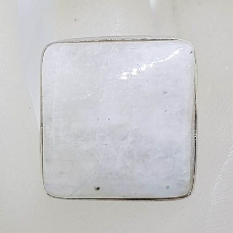 Sterling Silver Bezel Set Large Square Moonstone Ring