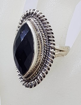 Sterling Silver Large Marquis Shape Onyx with Ornate Patterned Design Ring