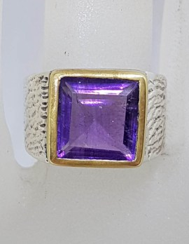 Sterling Silver and Plated Heavy / Chunky Bezel Set Square Amethyst Ring
