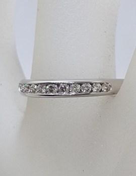 9ct White Gold Channel Set Diamond Ring / Wedding Ring / Eternity Ring