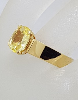 9ct Yellow Gold Oval Natural Golden Yellow Ceylon Sapphire Claw and High Set on Wide Band Ring - Antique / Vintage