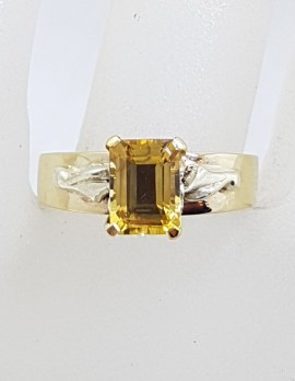 9ct Yellow Gold Rectangular Natural Citrine High Set on Wide Band Ring - Antique / Vintage