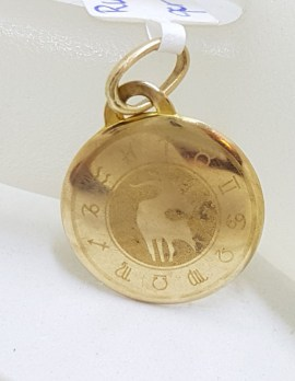 9ct Yellow Gold Round Taurus Horoscope Charm - Vintage