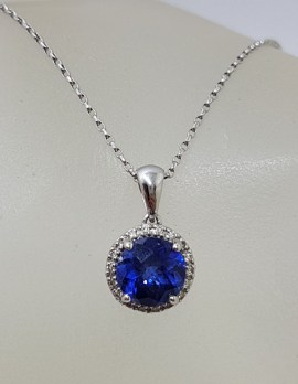 9ct White Gold Round Created Blue Sapphire surrounded by Diamonds Pendant on Gold Chain