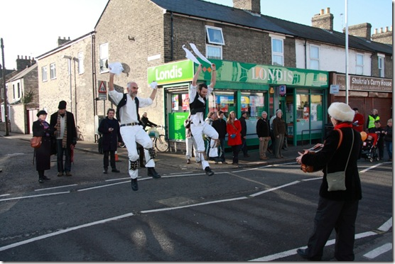 Coton Morris Men and Ely and Littleport Riot dance at the Mill Road Winter Fair 2011