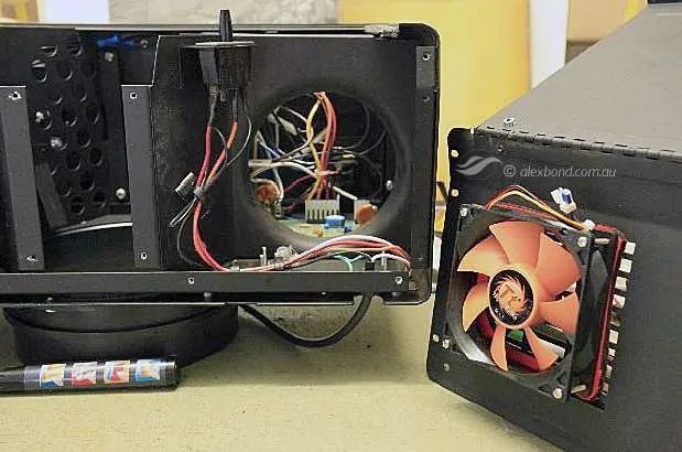 Beseler dichro 45s showing the axial fan fixing to the rear panel using existing air grill holes.