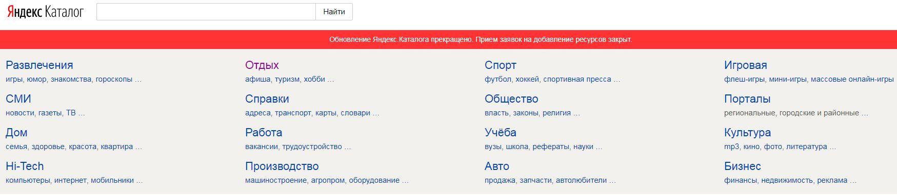 Яндекс каталог закрывается навсегда