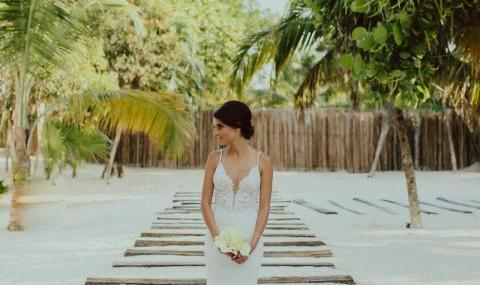 Natalia on her wedding day at casa malca,tulum