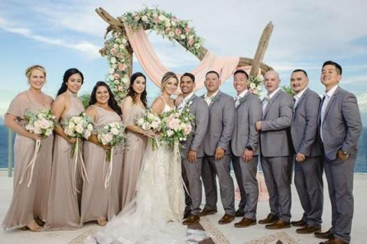 Kristen just got married at Bech palace in Cancun. Poses with her bridal party,Cancun, Riviera Maya Mexico