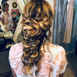 bridal whimsical updo for her wedding day