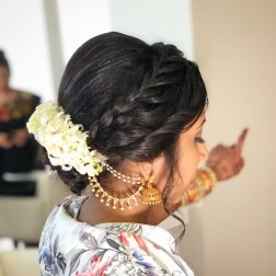 braided up-do for indian bride ceremony