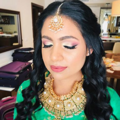 bridal colorful sangeet makeup