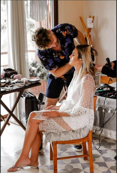 Viviane gets hair and makeup done by alex corbanezi in tulum