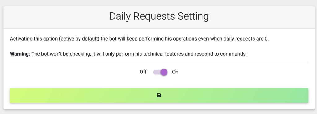Aggiornamenti EngageBot Settembre 2021 Il bot può continuare a funzionare anche una volta finite le richieste giornaliere!