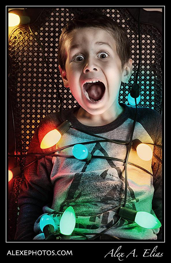 Christmas Portraits Ideas Kids Wrapped On Lights Alex