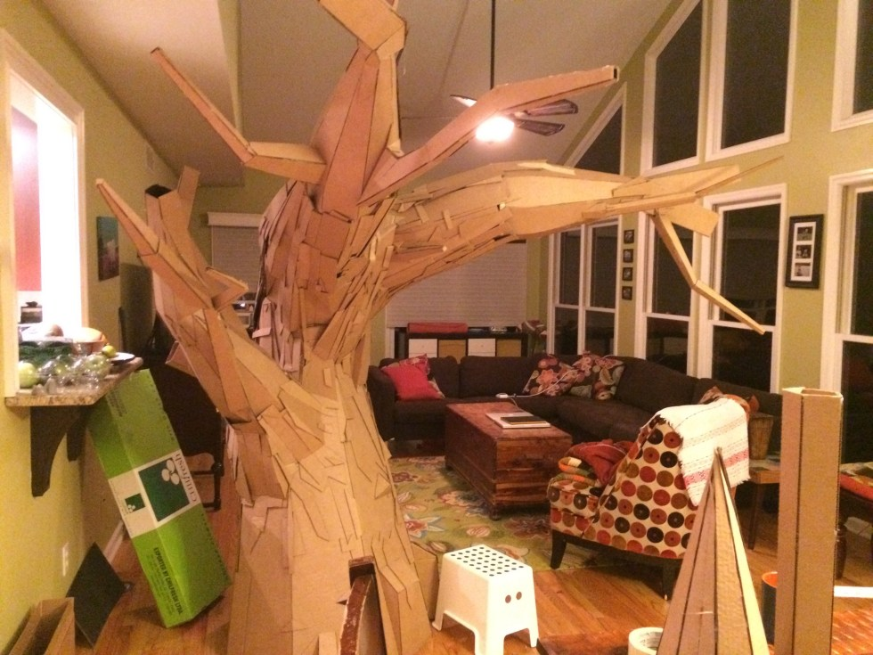 cardboard tree in living room