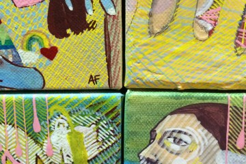 4 small paintings side by side