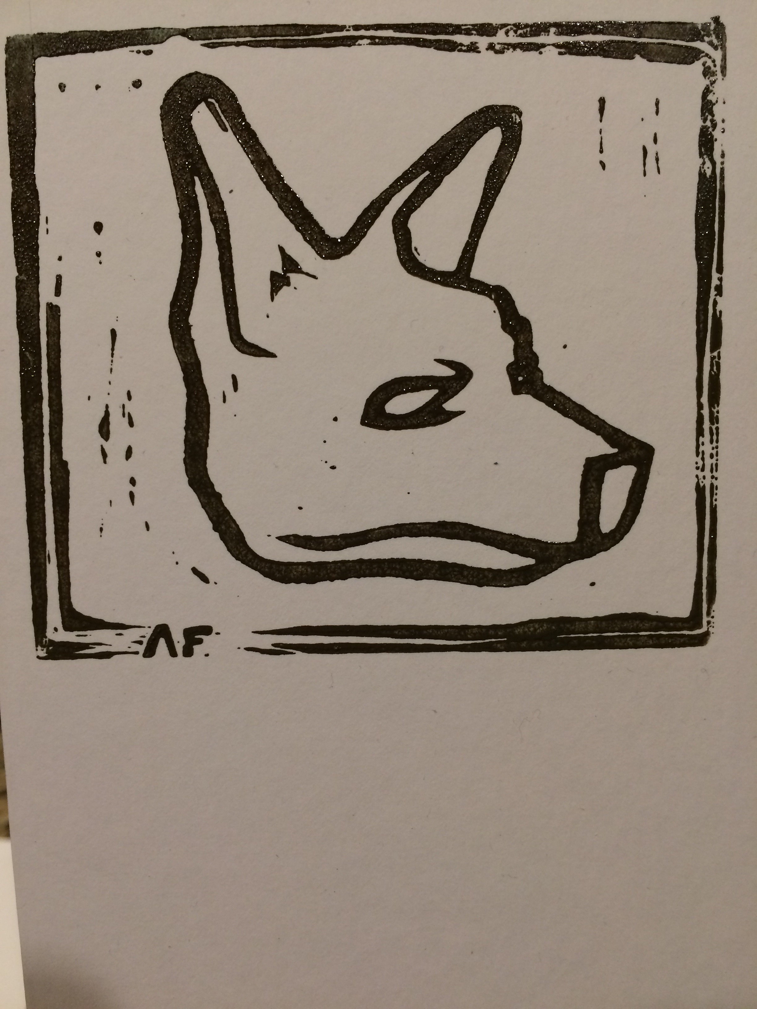 First print of dog head template on scrap material